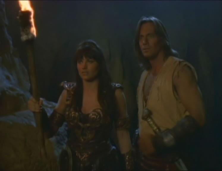 Kevin Sorbo e Lucy Lawless in Prometheus, episodio del telefilm Xena.