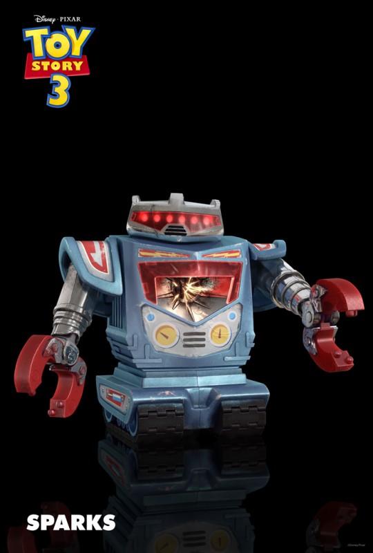 Un'immagine di Sparks, giocattolo in stile retro con gli occhi luminosi e le braccia telescopiche, nuovo personaggio di Toy Story 3