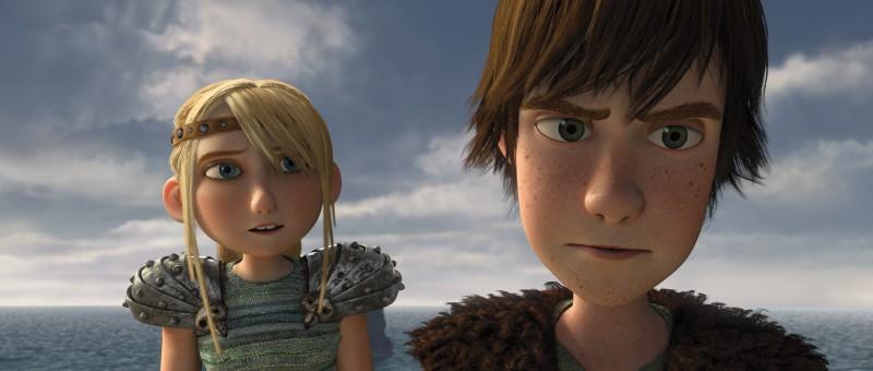 Hiccup e Astrid in una scena di Dragon Trainer