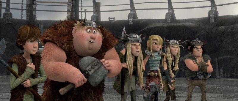 Hiccup, Ruffnut, Tuffnut, Astrid, Fishlegs e Snotlout in una scena del film Dragon Trainer