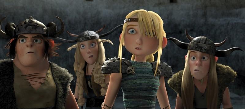 Tuffnut, Fishlegs, Astrid e Ruffnut in una scena del film Dragon Trainer