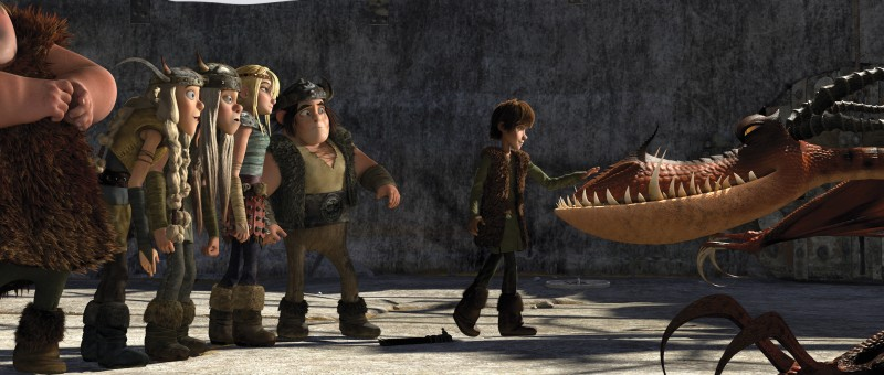 Un'immagine di Hiccup e degli altri protagonisti del film Dragon Trainer