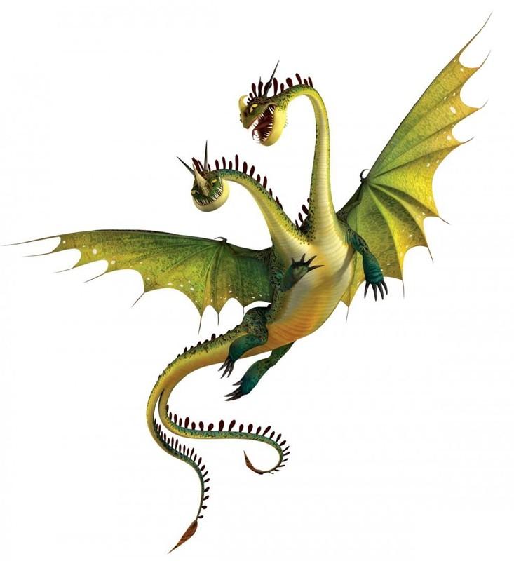 Un'immagine promozionale del drago a due teste Hideous Zippleback / Orripilante Bizippo del film Dragon Trainer