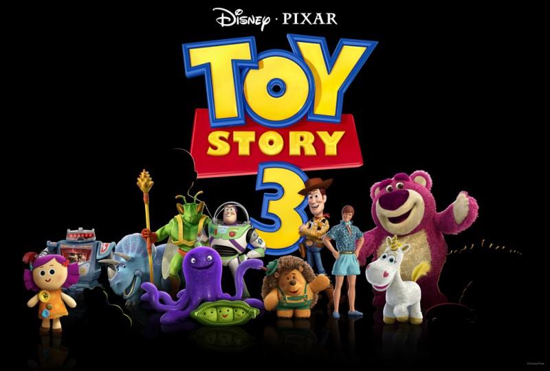 Teaser promozionale dei protagonisti di Toy Story 3 con Dolly, Sparks, Trixie, Twitch, Buzz, Woody, Ken, Lotso, Stretch, Peas, Mr. Princklepants e Cono di Panna