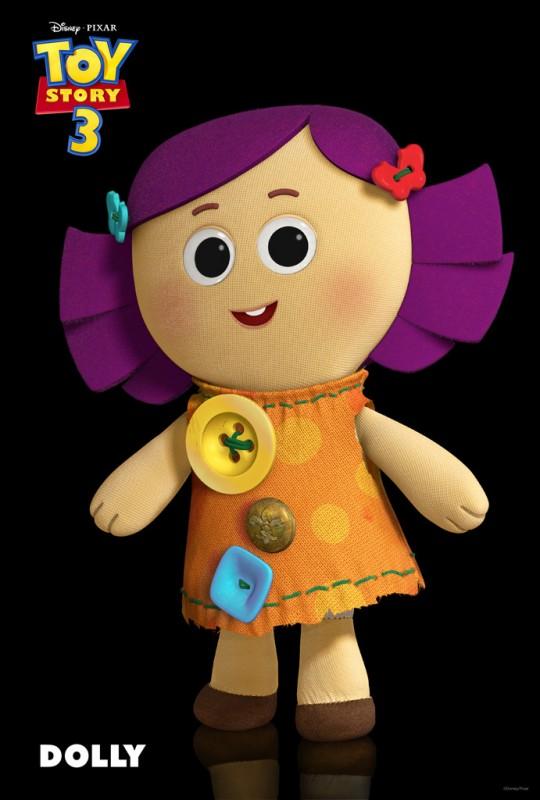 Un'immagine di Dolly, una morbida e dolce bambola di pezza, il regalo perfetto per ogni bambina, nuovo personaggio di Toy Story 3