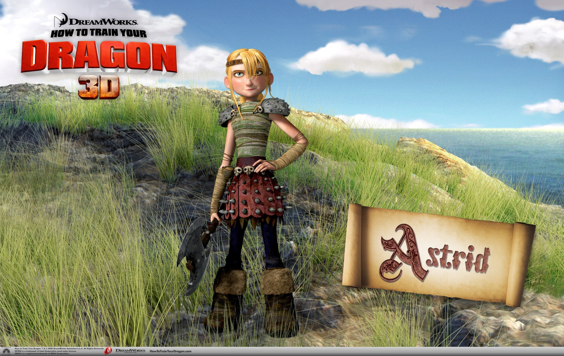 Un wallpaper di Astrid per il film d'animazione, Dragon Trainer
