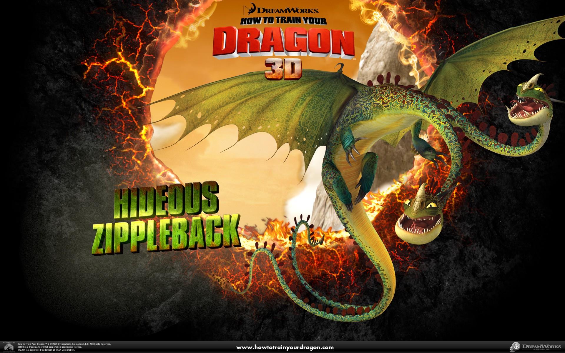 Un wallpaper ufficiale del drago a due teste, Orripilante Bizippo del film Dragon Trainer