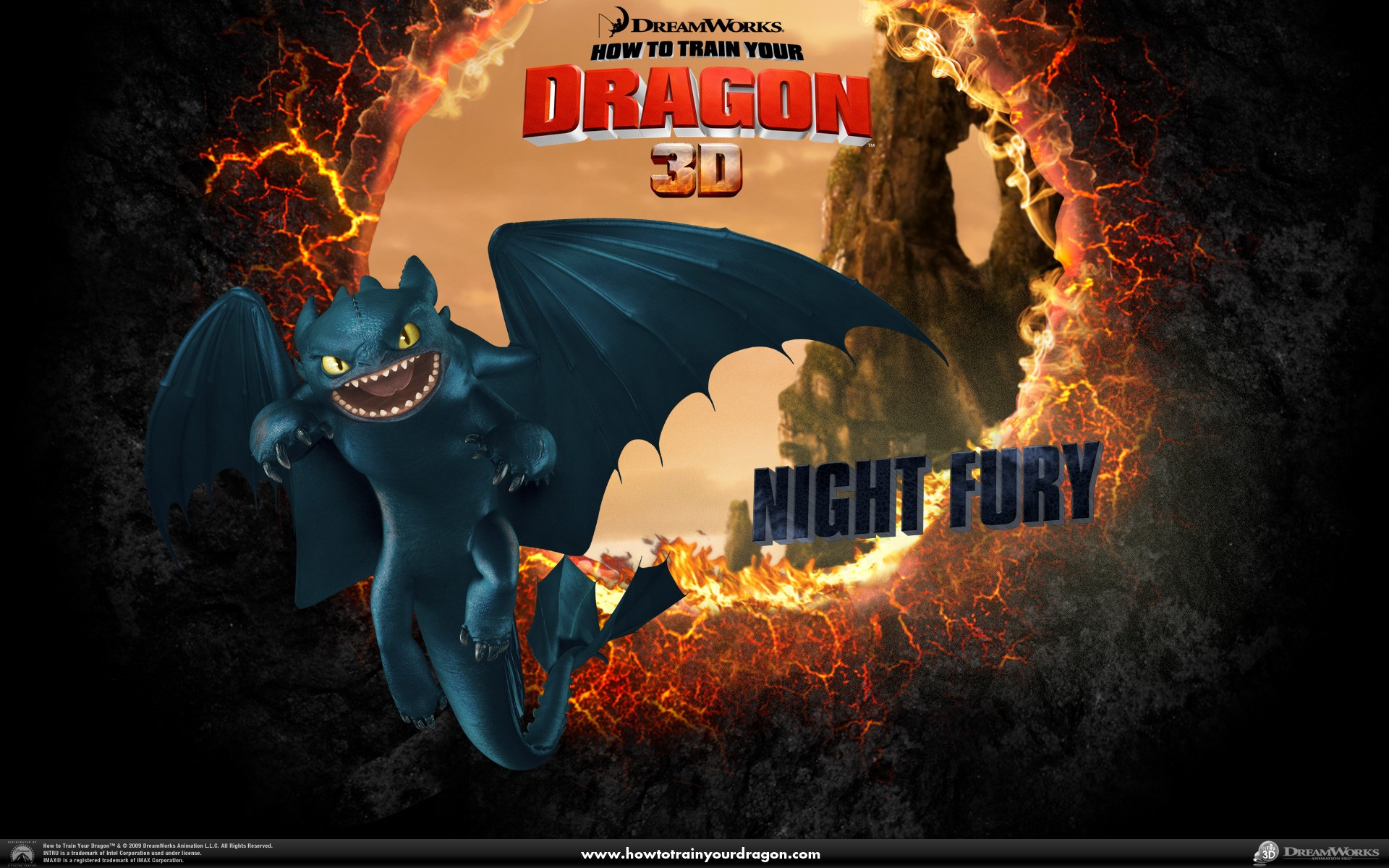 Un wallpaper ufficiale del drago Furia Buia del film Dragon Trainer