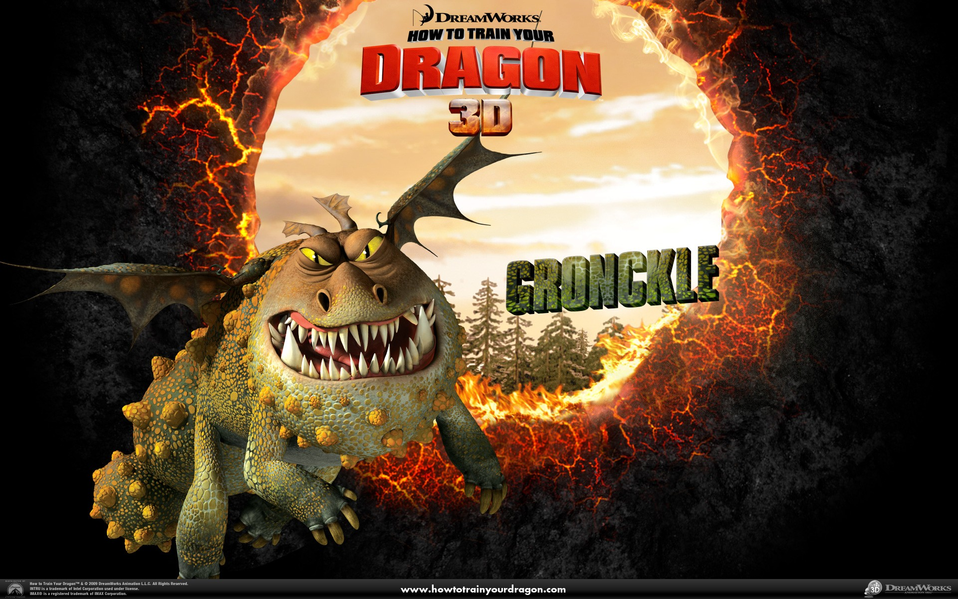 Un wallpaper ufficiale del drago Gronkio del film Dragon Trainer