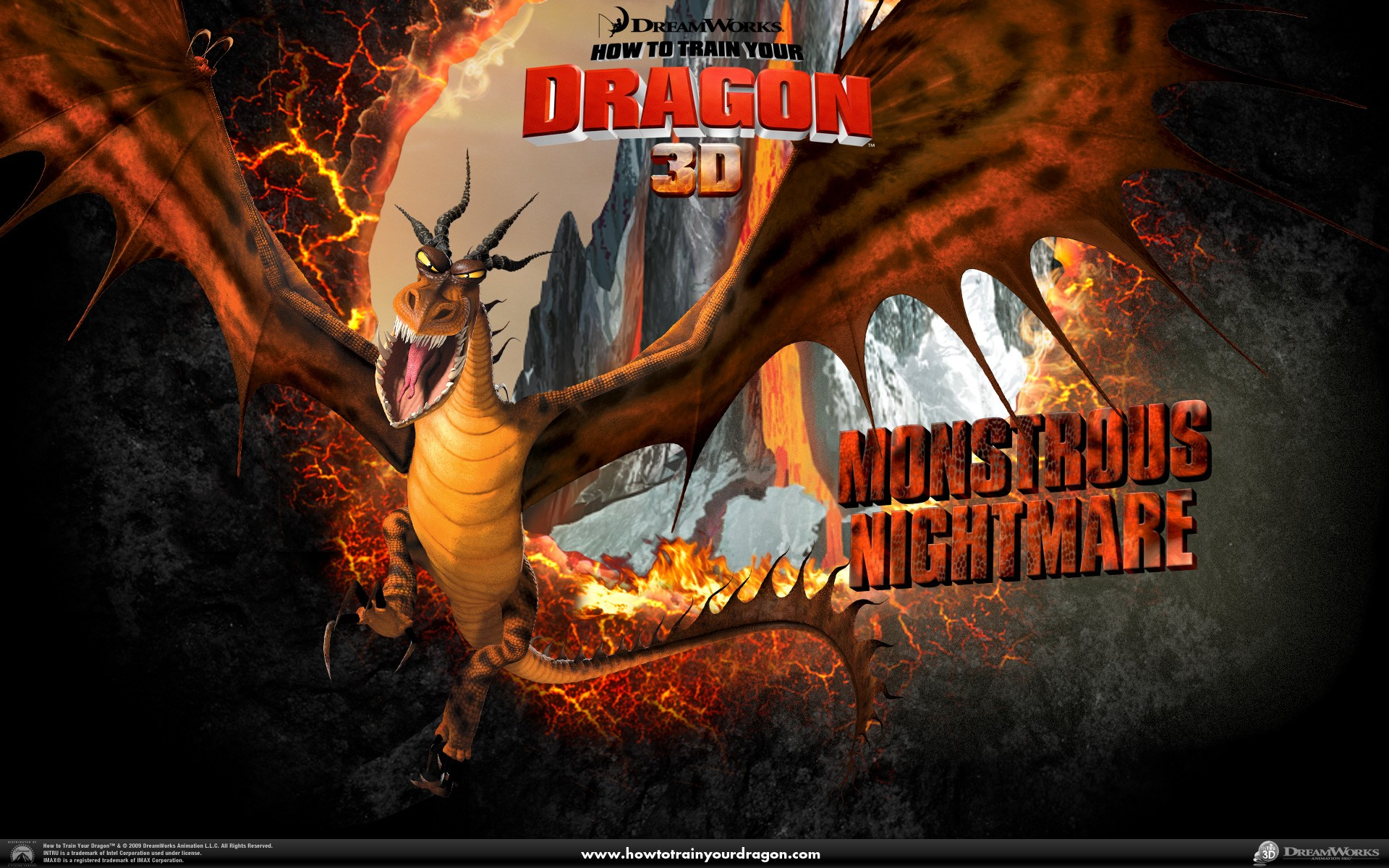 Un wallpaper ufficiale del drago Incubo Orrendo del film Dragon Trainer
