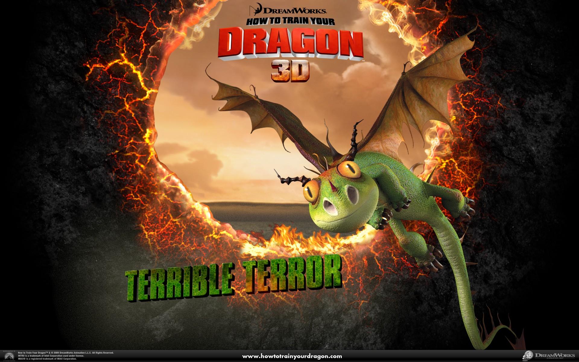 Un wallpaper ufficiale del drago Terribile Terrore del film Dragon Trainer
