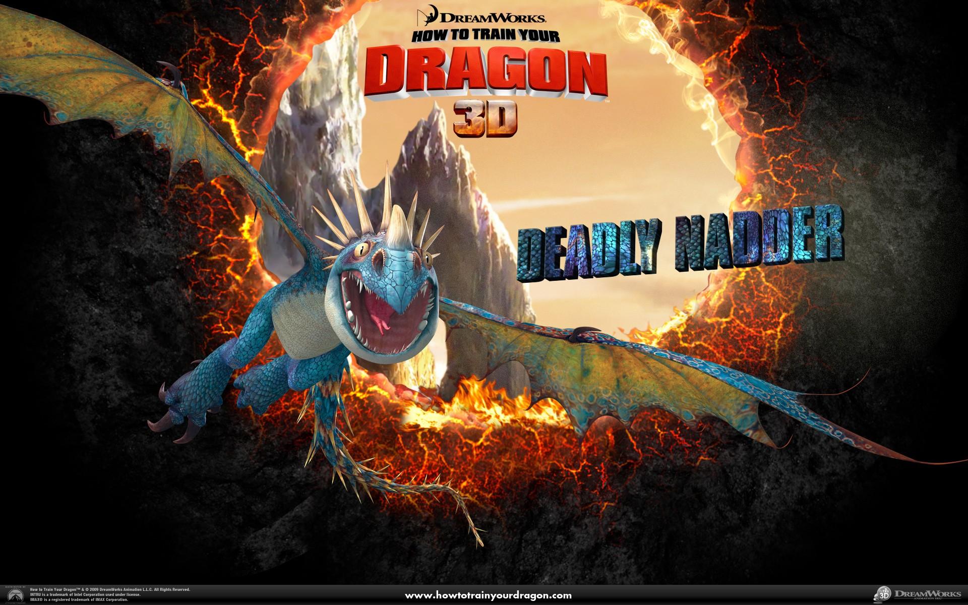 Un wallpaper ufficiale del drago Uncinato Mortale del film Dragon Trainer