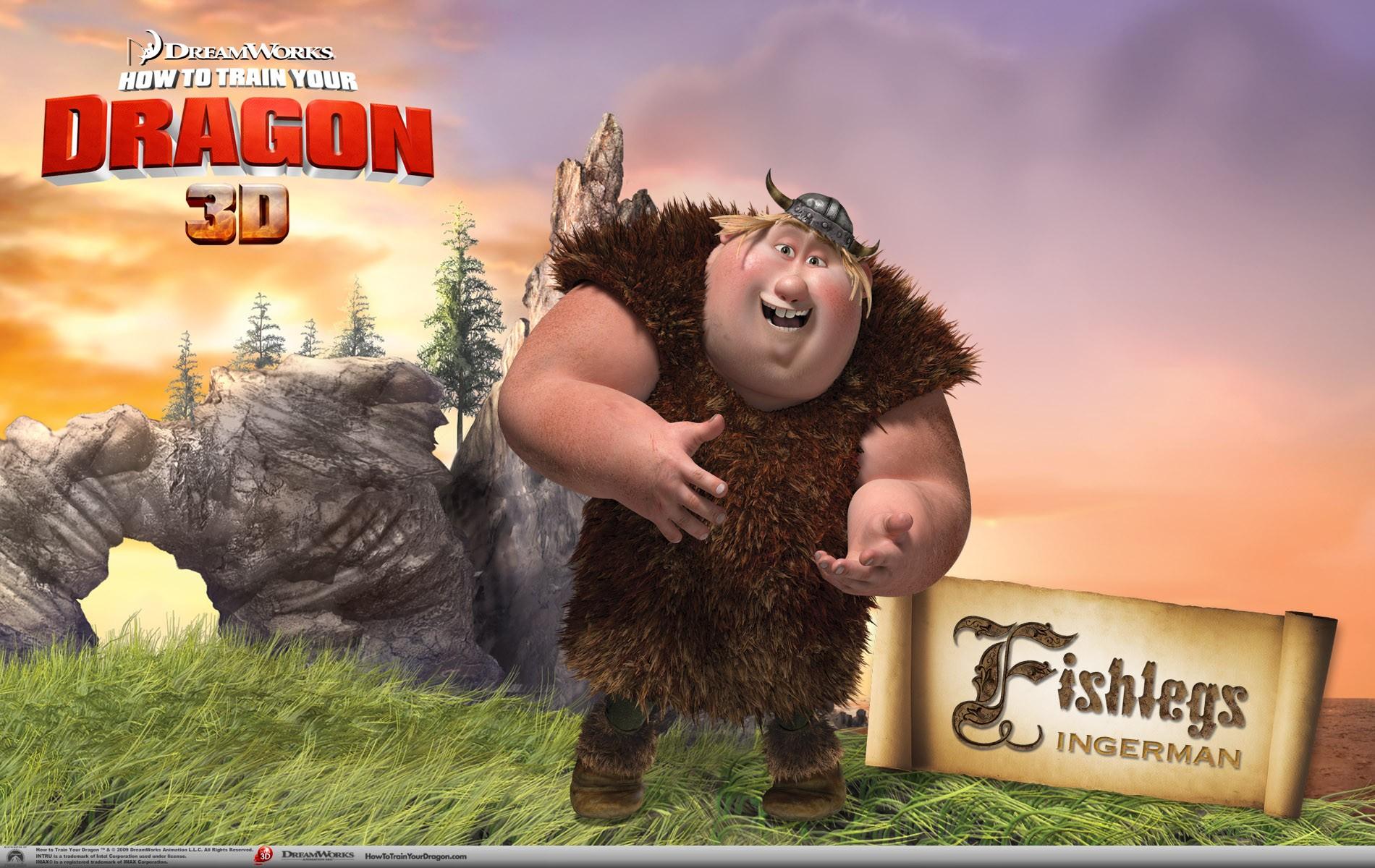 Un wallpaper ufficiale di Fishlegs per il film d'animazione, Dragon Trainer
