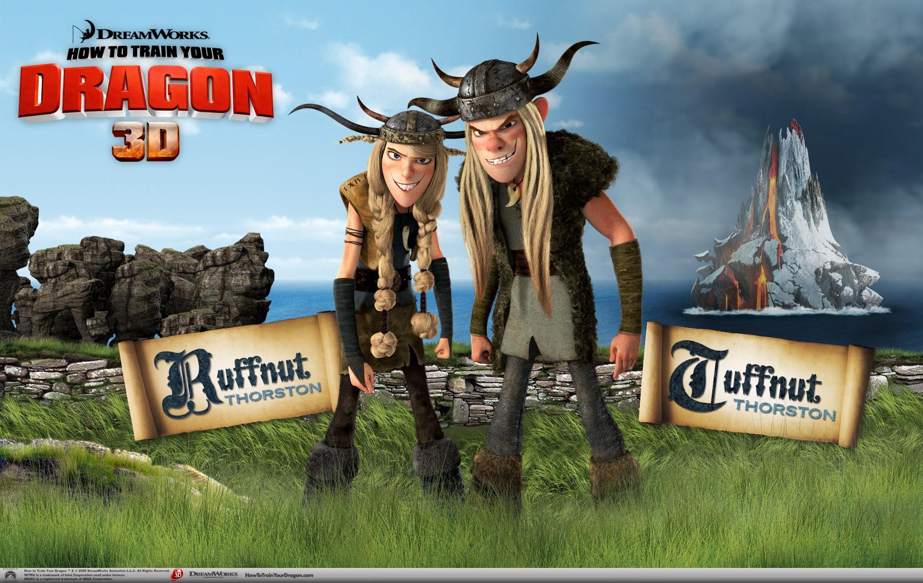 Un wallpaper ufficiale di Ruffnut e Tuffnut per il film d'animazione, Dragon Trainer