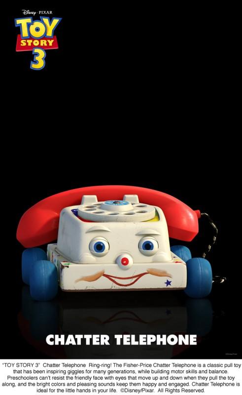 Drin drin! Ecco in esclusiva il Telefono Chiacchierone, uno dei personaggi di Toy Story 3, in un'immagine promozionale.
