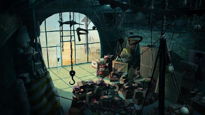 Un'immagine crepuscolare del mondo dei libri dal film Nat e il segreto di Eleonora