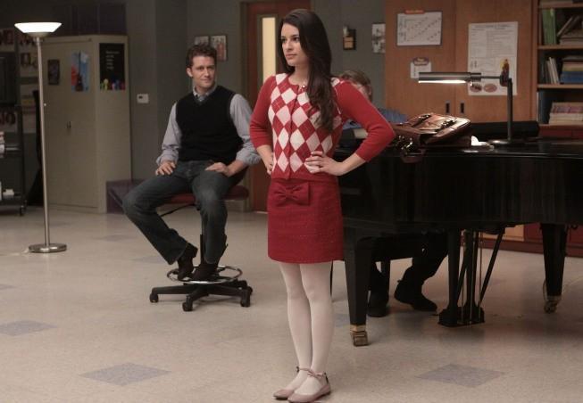 Lea Michele e Matthew Morrison in una scena dell'episodio Hell-O di Glee