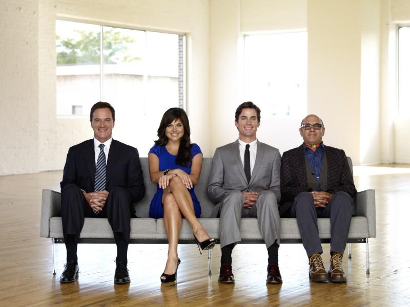 White Collar: Willie Garson, Matthew Bomer, Tim DeKay e Tiffani Thiessen in una immagine promozionale della serie