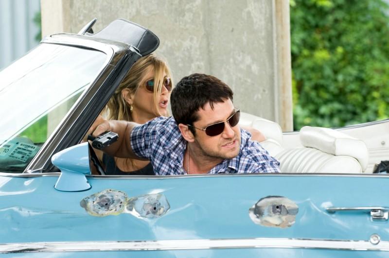Jennifer Aniston con Gerard Butler in una scena de Il cacciatore di ex