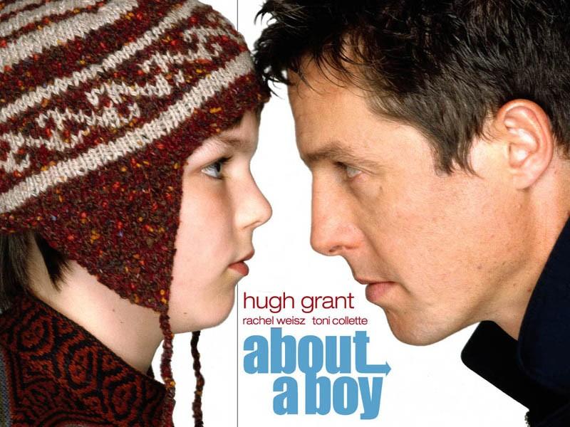Wallpaper del film About a Boy con Hugh Grant e Nicholas Hoult.