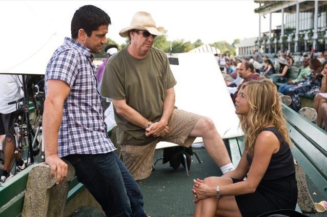Gerard Butler, Andy Tennant e Jennifer Aniston sul set de Il cacciatore di ex