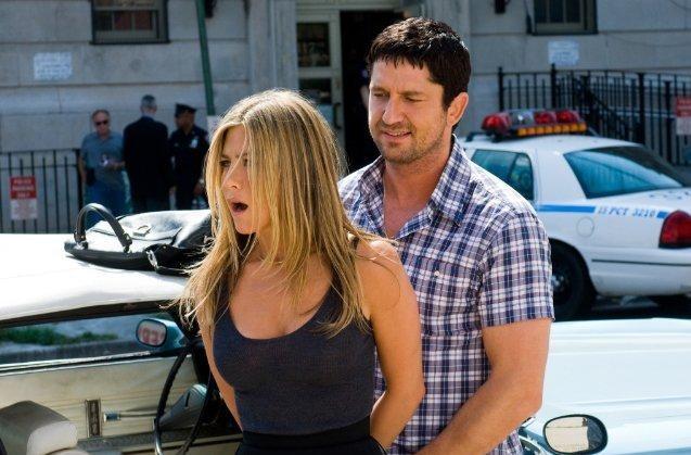 Jennifer Aniston e Gerard Butler in una sequenza de Il cacciatore di ex