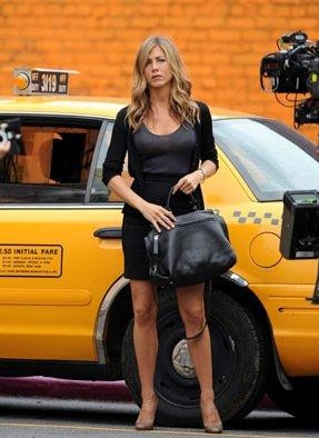 Jennifer Aniston sul set del film Il cacciatore di ex