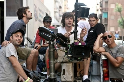 Un'immagine dal set del film Piazza Giochi