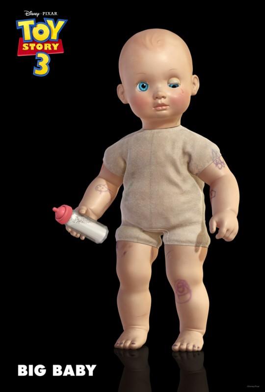 Un'immagine di Bimbo, bambolotto con il corpicino di tessuto e le braccia, le gambe e il viso in vinile appena arrivato nel cast di Toy Story 3