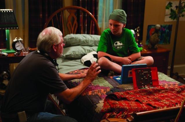 Il regista David Nixon e Tanner Maguire sul set del film Letters to God