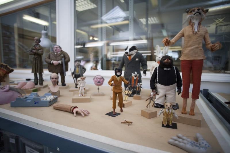 Un'immagine dei modelli dei protagonisti utilizzati nel film Fantastic Mr. Fox