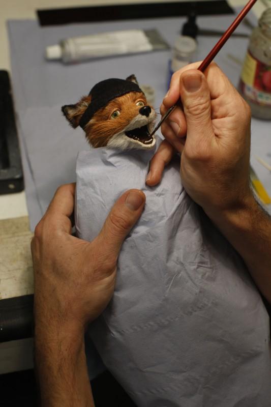 Un'immagine della lavorazione ai modelli dal set del film Fantastic Mr. Fox