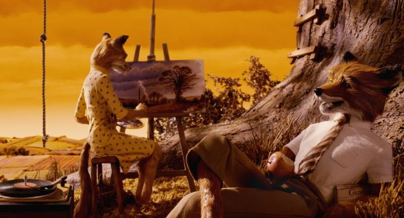 Un'immagine romantica del film Fantastic Mr. Fox