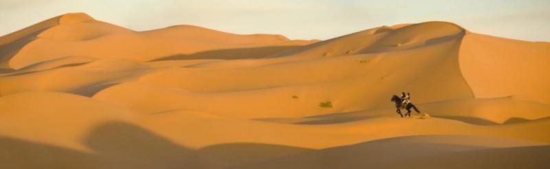 Dastan (Jake Gyllehaal) e Tamina (Gemma Arterton) attraversano a cavallo il deserto in Prince of Persia: Le sabbie del tempo