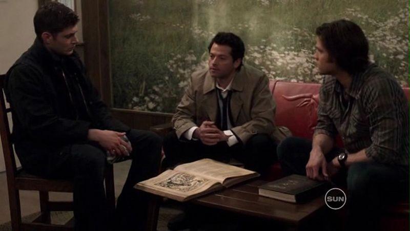 Jensen Ackles, Jared Padalecki e Misha Collins nell'episodio 99 Problems di Supernatural