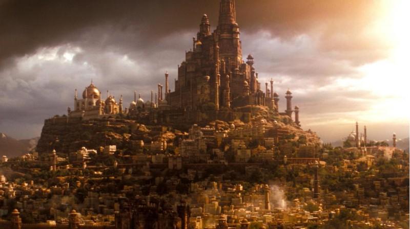 Una splendida immagine di Alamut in tutta la sua magnificenza nel film Prince of Persia: Le sabbie del tempo