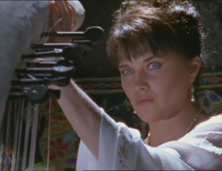 Lucy Lawless in una scena dell\'episodio Xena e la principessa di Trezene di Xena