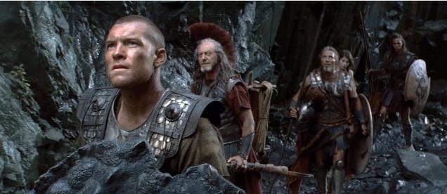 Sam Worthington, Nicholas Hoult, Mads Mikkelsen e Gemma Arterton in una sequenza del film Clash of the Titans