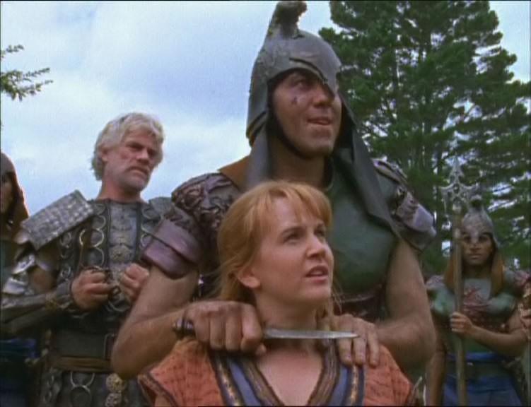 Tim Thomerson e Renee O\'Connor nell\'episodio Xena e il guerriero Melicerte di Xena