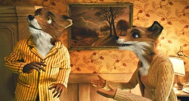 Un'immagine del signor e la signora Fox dal film Fantastic Mr. Fox