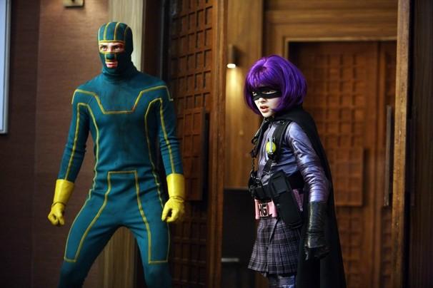 Kick-Ass (Aaron Johnson) e Hit-Girl (Chloe Moretz) in azione nel film Kick-Ass