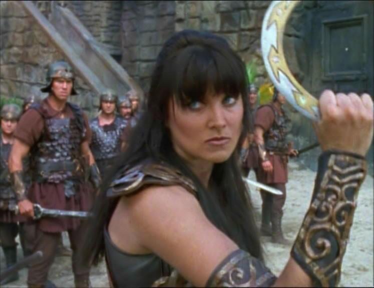 Lucy Lawless nell\'episodio Xena e la maschera di Codro di Xena