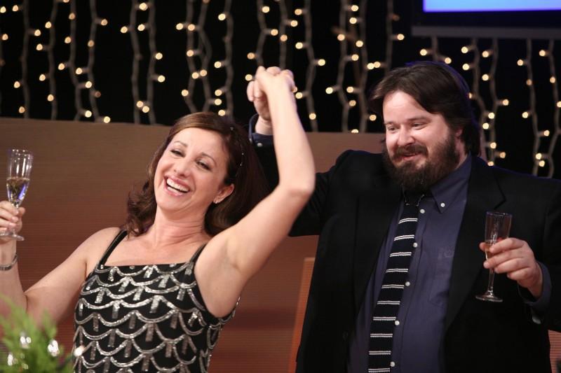 Carla Signoris e Giuseppe Battiston in una scena dell'episodio Senza paura di Tutti pazzi per amore 2