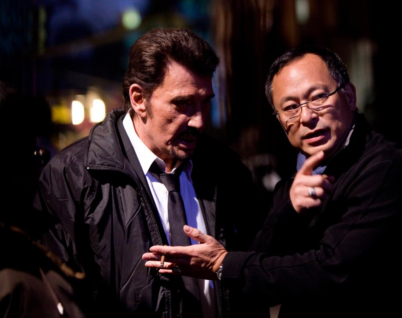 Johnny Hallyday e il regista Johnny To sul set del film Vendicami