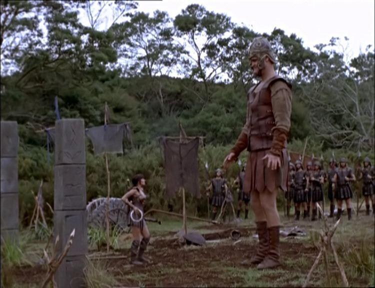 Todd Rippon e Lucy Lawless nell\'episodio Xena e Davide contro Golia