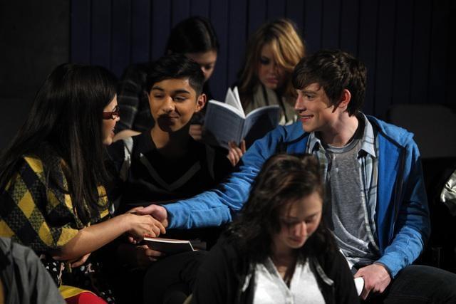 Ugly Betty: America Ferrera, Mark Indelicato e Ryan McGinnis nell'episodio All the World's a Stage