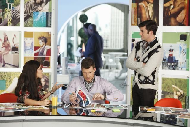 Ugly Betty: America Ferrera, Michael Urie ed Eric Mabius nell'episodio The Passion of the Betty