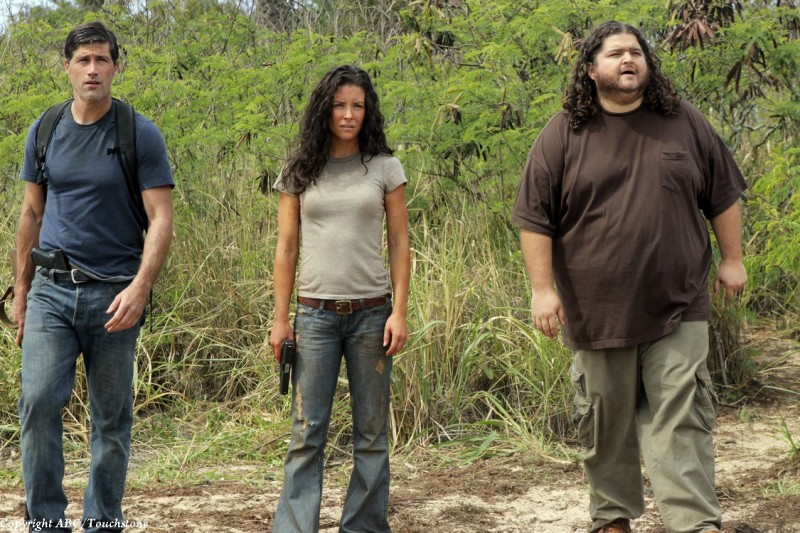 Evangeline Lilly; Jorge Garcia e Matthew Fox nell'episodio The Cadidate di Lost