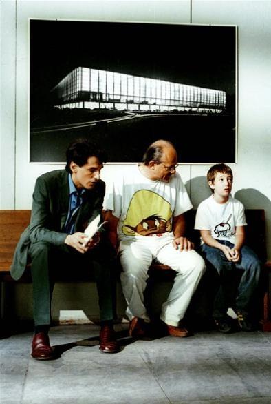 Un'immagine dal set del film La fisica dell'acqua con Stefano Dionisi, Lorenzo Valvassori e il regista Felice Farina