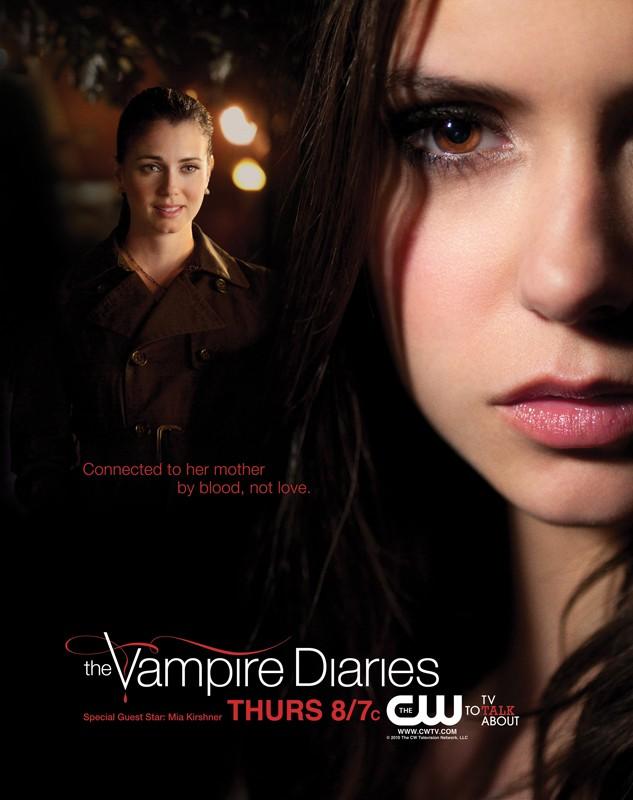 Il poster promozionale dell'episodio Isobel di Vampire Diaries con Nina Dobrev e Mia Kirshner